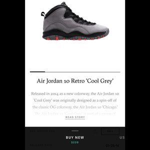 Authentic Air Jordan 10 Coo grey/ infrared